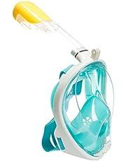 Máscara de buceo,Buceo Gafas Snorkel 180 grados de vision mascara de buceo con el dise?o de cara llena respirando libre.tecnología anti Soporte para Cámara Deportiva Gopro (verde L/XL)