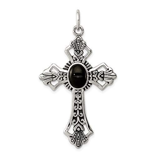 925 Sterling Silver Black Onyx Cross Religious Pendant Charm Necklace Fleur De Lis Fine Jewelry Gifts For Women For - Necklace Charm Black Onyx