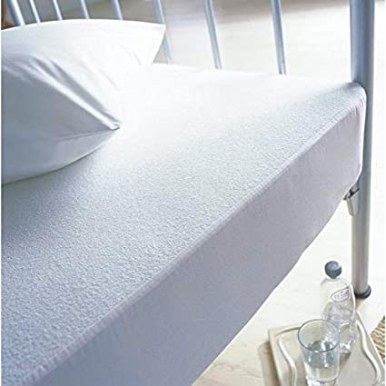 White Mattress Cover, Bunk Bed Sunshine Linens Terry toweling Waterproof Mattress Protector Extra Deep Fitted Sheets Bedding Cover