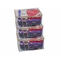 Kuber Industries 3 Pieces PVC Transparent Saree Cover Set