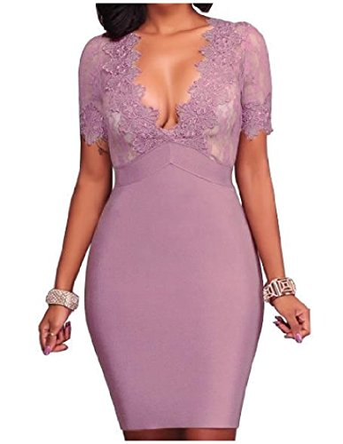 Trim Silm Neck Dress V Lace Short Sleeve Coolred Club Women Purple Luxury Evening Party Mid FqxUIFwZ
