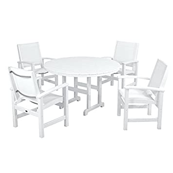 Awe Inspiring Polywood Coastal 5 Piece Outdoor Dining Set White Royal Blue Sling Dailytribune Chair Design For Home Dailytribuneorg