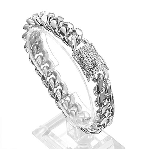 Jxlepe Mens Miami Cuban Link Chain White 15mm Stainless Steel Curb Necklace with cz Diamond Chain Choker (8, Bracelet) (Bracelet White Mens Link 14k)