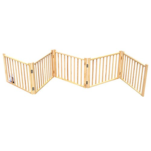 B&P 5-Panel Folding Exercise Yard Fence for Pets Natural Wooden Gate (5-Panel, Natural wood)