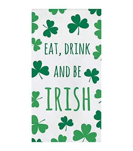 St. Patrick's Day 16 pk Paper Napkins Shamrocks, Eat, Drink & Be Irish Dinner Party Guest Towel Napkins ()
