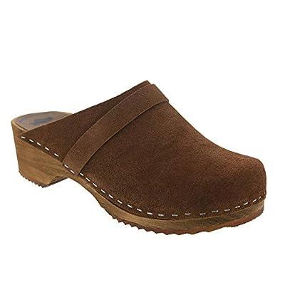 Bjork Kaia Swedish Low Heel Wooden Clog Mules in Brown Suede Leather
