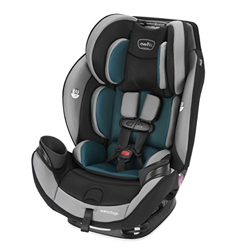 (Evenflo EveryStage DLX All-in-One Car Seat, Reclining Car Seat,Infant Convertible & Booster Seat,Grows with Child Up to 120 pounds, Angled for Comfort & Safety, 3-Times-Tighter Installation, Reef Blue)