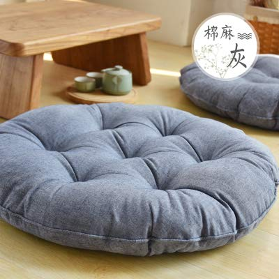 Japanese Style Floor Pillow Cushion Cotton Soft Thicken Round Yoga Mat Meditation Pads Chair Back Seat Cushions Tatami Throw Pillows for Office Car Sofa Chair Home Decorations by Vnhome
