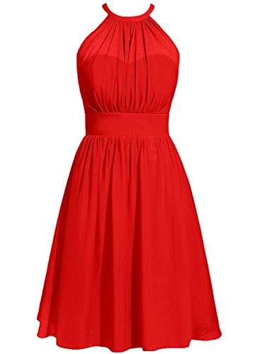 Prom Anlin Party Gowns Short Halter Bridesmaid Dresses AN88 Chiffon Red Guest Wedding xqq1wn0r