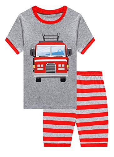 Family Feeling Kid Boys Fire Truck Pajamas Short Sets 100% Cotton Grey 18-24