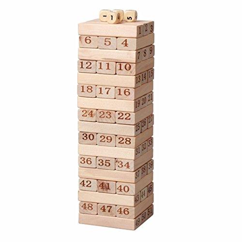 Tower Wood Block Stacking Game - 51 Pcs
