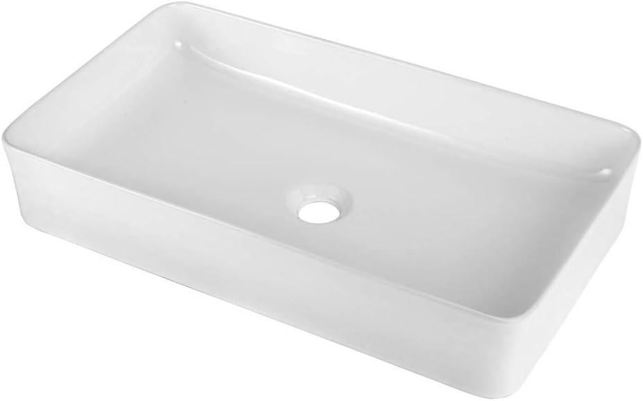Sarlai 24 x14 Modern Rectangle Above Counter White Porcelain Ceramic Bathroom Vessel Vanity Sink Art Basin