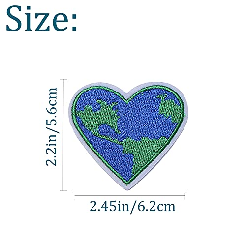 TACVEL Love Earth, Heart Embroidered DIY Sew on / Iron on Patches for Kids Clothing, Vest, Jackets, Backpacks, Caps, Jeans to Repair Holes / Logo, Dark Blue