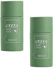 Groene thee Purifying Clay Stick Mask, Green Tea Stick Deep Cleansing Olie Controle Gezichtsmasker, Aubergine Anti-Acne Cleansing Solid Mask Mee-eterverwijderaar Fine Solid Mask poriën krimpen, 1 stuk groen
