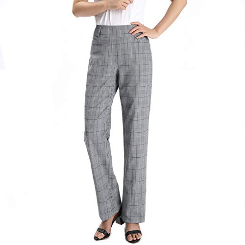 Vocni Women's Bootcut Stretch Elastic Waist Slim Fit Comfortable Pull on Dress Pants Full Ankle Length Trousers (X-Large, Grey Plaid) (Womens Ankle Stretch Pant)