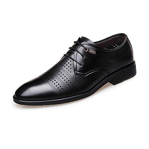 BMD-Shoes Scarpe di pelle, Scarpe da lavoro stringate da uomo In vera pelle traspirante Oxford con fodera superiore imbottita (Color : Marrone, Dimensione : 41 EU) Nero