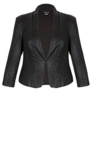 Designer Plus Size JKT SHIMMER - Black - 22 / XL | City Chic