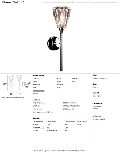 ET2 E20191-19 Visione 1-Light Wall Sconce, Polished Chrome Finish, Clear Glass, CA Incandescent Incandescent Bulb, 20W Max., Dry Safety Rated, 2900K Color Temp., Standard Dimmable, Shade Material, 630 Rated Lumens by ET2 Lighting (Image #1)