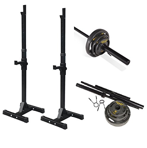 Bundle Includes: Adjustable Rack For Free Bench Press And Squats, Olympic Weight Set, 110 lbs by Beastly Gen Gyms, Golds Gym