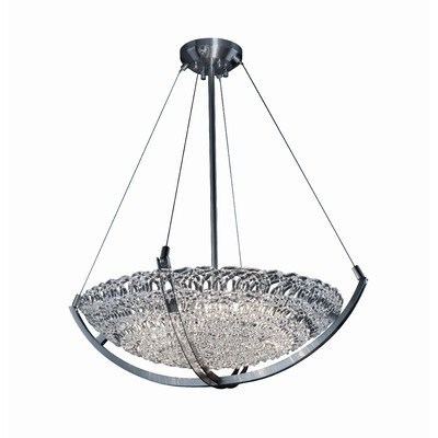Justice Design GLA-9722-35-WTFR-NCKL Veneto Luce - Six Light Bowl Pendant with Crossbar, Glass Options: WTRF: White Frosted Glass Shade, Choose Finish: Brushed Nickel Finish, Choose Lamping Option: Standard Lamping - Veneto Bowl Pendant