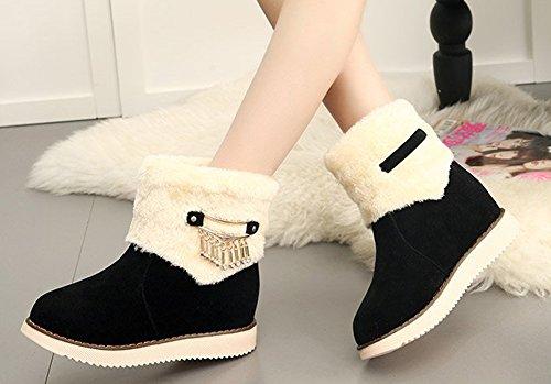 Aisun Femme Confort Chaussures Plates Métal Bottines Noir 8Q3qc9Mjf