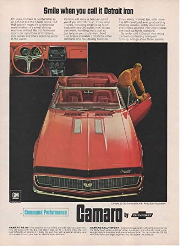 Magazine Print Ad: 1967 Chevy Camaro SS 350 V8 Convertible, Rally Red, Sport Package,