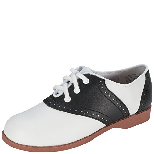 SmartFit Girl's Black/White Saddle Oxford 10.5 M US (Black And White Saddle Shoes)