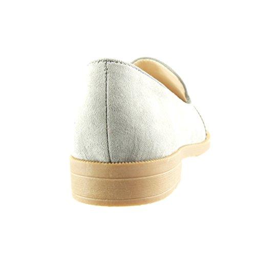 Angkorly - Zapatillas de Moda Mocasines slip-on mujer joyas strass perforado Talón Tacón ancho 2 CM - Gris