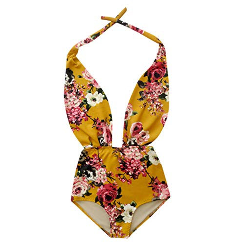EDC Womens Siamese Flower Printed Beachwear Sexy Halter Neck V Neck High Waist Swimsuit Swimwear Monokini (Yellow, L) (Flowers Women Converse)