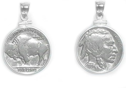 Flintski Jewelry Buffalo Indian Head Nickel Sterling Silver Coin Edge Coin Pendant with Coin ()