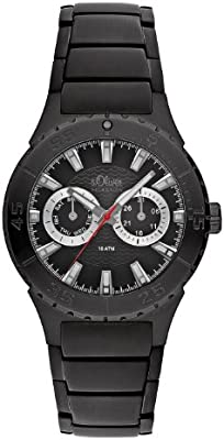 buy online e0a6f 090bf S.Oliver Men's Black Dial Stainless Steel Band Watch - SO ...