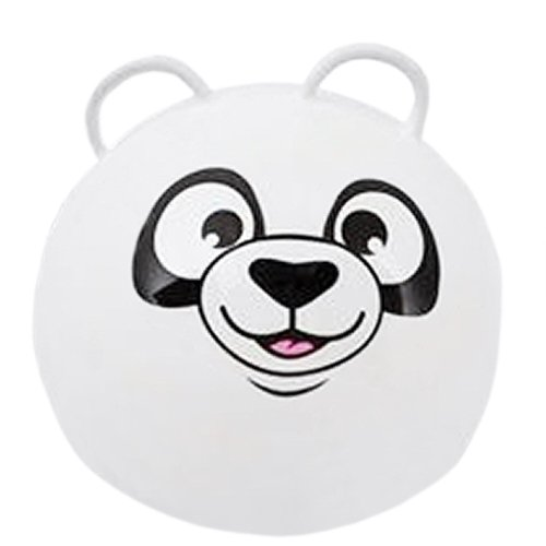 Hippity Hop Exercise Hopper Jump Balls with Animal Face and Two Handles for Kids (White Panda)
