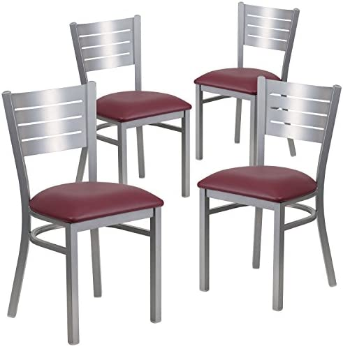 Flash Furniture 4 Pk. HERCULES Series Silver Slat Back Metal Restaurant Chair