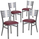 Flash Furniture 4 Pk. HERCULES Series Silver Slat Back Metal Restaurant Chair – Burgundy Vinyl Seat