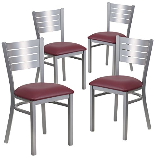 Flash Furniture 4 Pk. HERCULES Series Silver Slat Back Metal Restaurant Chair - Burgundy Vinyl Seat