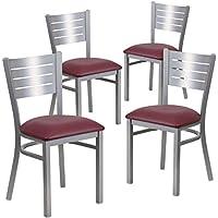 Flash Furniture 4 Pk. HERCULES Series Silver Slat Back Metal Restaurant Chair - Burgundy Vinyl Seat
