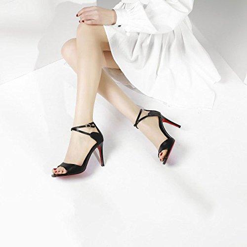 Estilete Cuero Verano Recortes Sandalias Poco Moda De Mujer Zapatos Redondas Nuevo Negro Profundas Genuino 0ZBBtq