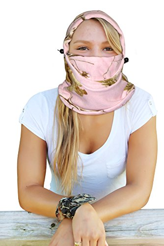 Realtree Pink Fleece Balaclava Womens Pink Camo Hood by Camo Chique