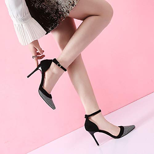 thin Thirty fresh 100 10cm shoes small pointed heeled High shoes word a six LBTSQ fashionable tie single show thin heel women's buckle qRxCS7nwY