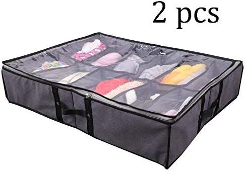 LHY SAVE 2 Pack Cajas almacenaje de Zapatos Plegable Caja bajo Cama organizadoras con Tapa Transparente y Compartimento para Ropa/Zapatos,Sandalias, Gris,26.7 x 21.6 x 5.9inch: Amazon.es: Hogar