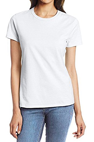ZJCT Womens Short Sleeve T Shirts Round Neck Cotton Shirts Casual Tops Tees White XL
