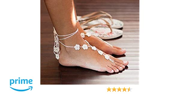 740aee136d4d Amazon.com  Flower Barefoot Sandals in Ivory