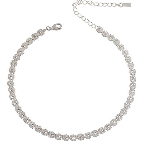 Samfa Style Marquis Diamond Choker Necklace with Extension (Silver) by Samfa Style
