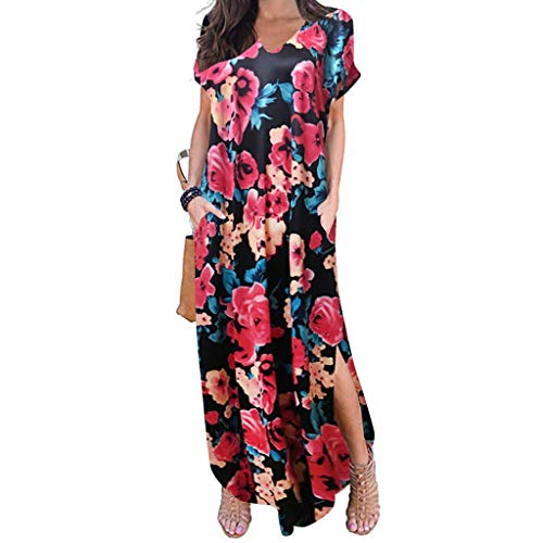 FRENDLY Women's Casual Sleeve V-Neck Print Maxi Tank Long Dress Casual Boho Beach Loose Maxi Dress with Pockets