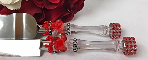 Cake Knife and Server Red and Black Set For Wedding-Sweet 16 All Occasions