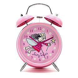 Cute Children's Alarm Clock ,Yatow 4 Twin Bell Wake Up Alarm Clock Nightlight Silent With Free Kids Toys (Pink)