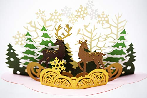 Christmas 3D Pop Up Card, Premium Metallic Paper, Laser Cut Unique Style, Handmade Holiday Greeting Card With Envelope and 2 Layer Message Page (Christmas Forest)