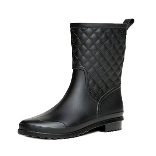 Rain Boots Mid Black Garden Calf LOKTARC Quilted Women's Wellies Wc1w6TqBY