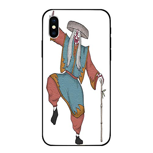 Phone Case Compatible with iPhone X Brandnew Tempered Glass Backplane,Kabuki Mask Decoration,Cultural Asian Character Posing Traditional Hat Makeup and Costume Decorative,Multicolor,Anti-shock and -