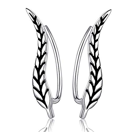 (STROLLGIRL Mother's Day Jewelry Sterling Silver Earrings-Chic Ear Climbers Leaf Ear Cuffs Jewelry Gifts for Girls Women (Black))